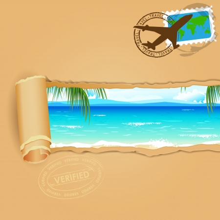 Illustration for illustration of sea beach view in travel parcel with stamp - Royalty Free Image