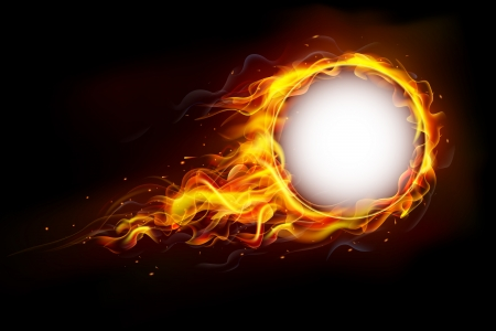 Illustration for illustration of fire flame in circular frame with musical notes - Royalty Free Image
