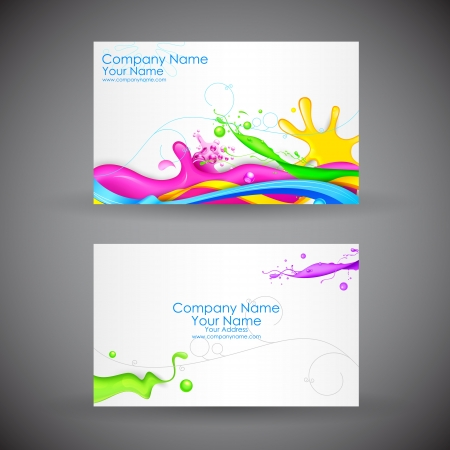 illustration of front and back of corporate business card with abstract background