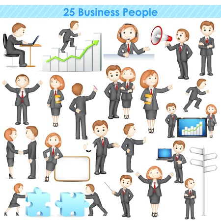 Foto de illustration of 3d businesspeople collection doing different activities - Imagen libre de derechos