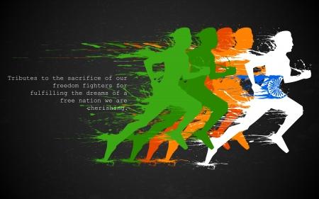 Ilustración de illustration of runners in grungy Indian tricolor - Imagen libre de derechos