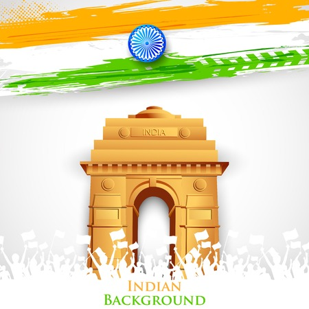 Illustration for illustration of India Gate with Tricolor Flag - Royalty Free Image