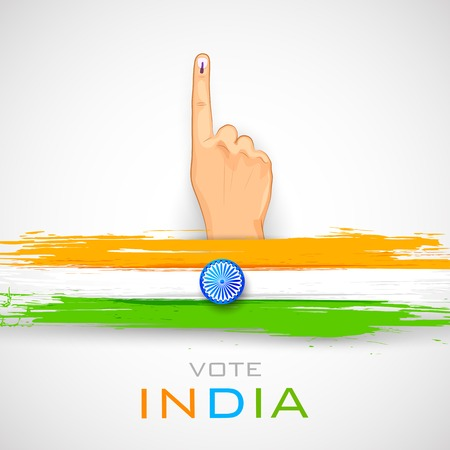 Illustration pour illustration of hand with voting sign of India - image libre de droit