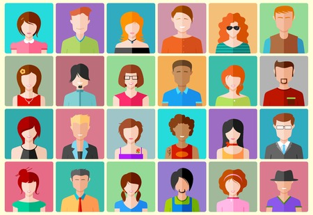 Photo for illustration of colorful flat design people icon - Royalty Free Image