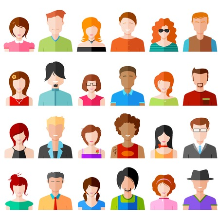 illustration of colorful flat design people icon
