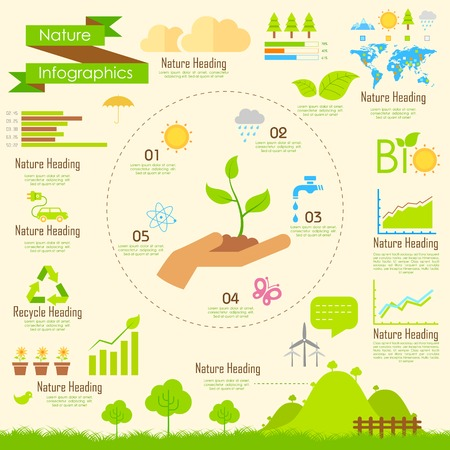 Illustration for illustration of Nature infographics in flat style - Royalty Free Image