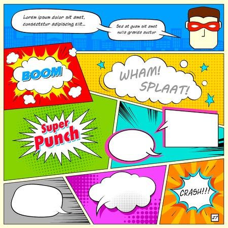 Illustration pour illustration of colorful comic speech bubble in vector - image libre de droit