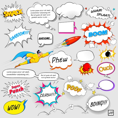 Illustration pour illustration of colorful comic speech bubble in vector - image libre de droit
