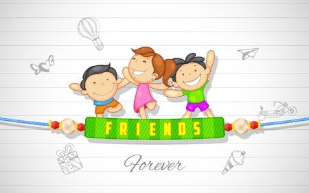 Illustration for illustration of friends enjoying Happy Friendship Day - Royalty Free Image
