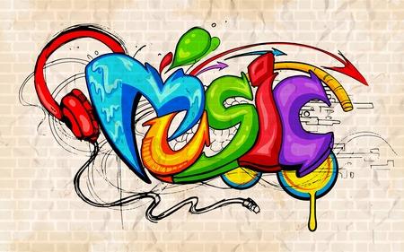 Illustration pour illustration of music background graffiti style - image libre de droit