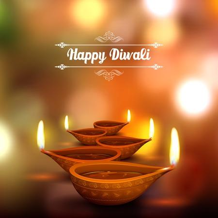 Illustrazione per illustration of burning diya on Diwali Holiday background - Immagini Royalty Free