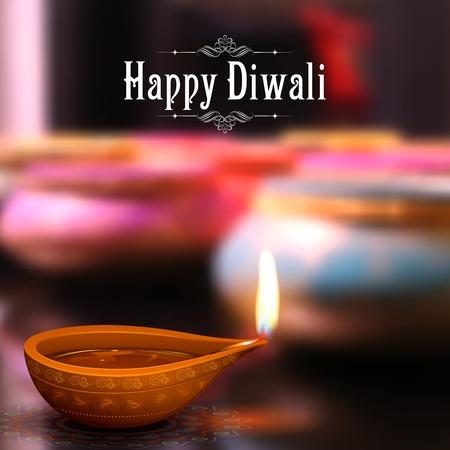 Ilustración de illustration of burning diya on Diwali Holiday background - Imagen libre de derechos