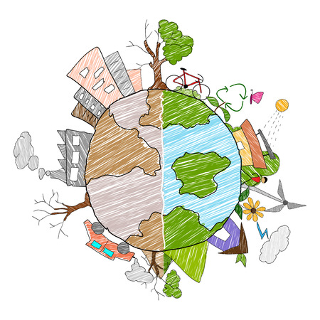 Illustration pour illustration of Earth as green environment and distructed - image libre de droit