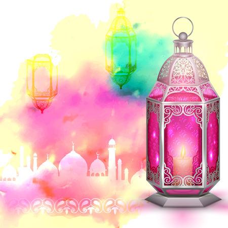 Illustration for illustration of Ramadan Kareem (Generous Ramadan) greeting with illuminated lamp - Royalty Free Image