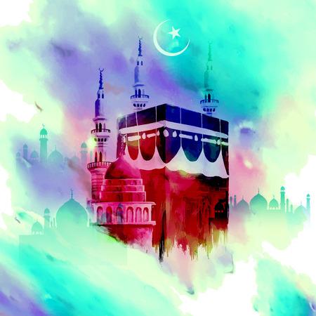 Illustration for illustration of Eid Mubarak (Happy Eid) background with Kaaba - Royalty Free Image