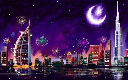 Illustration pour illustration of Eid Celebration Dubai city nightscape - image libre de droit