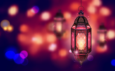 Illustration for illustration of illuminated lamp on Ramadan Kareem (Generous Ramadan) background - Royalty Free Image