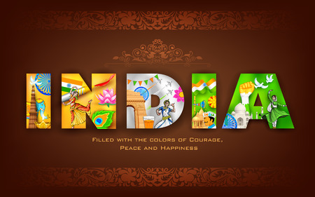 Illustration for illustration of India background showing its culture - Royalty Free Image