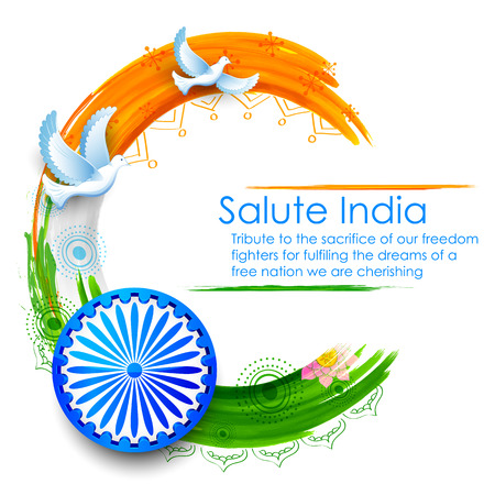 Illustration pour illustration of dove flying on Indian tricolor flag background showing peace - image libre de droit