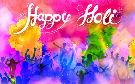 Ilustración de illustration of DJ party banner for Holi celebration - Imagen libre de derechos