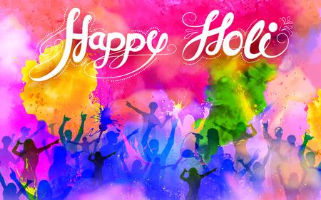 Illustration for illustration of DJ party banner for Holi celebration - Royalty Free Image