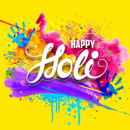 Ilustración de illustration of abstract colorful Happy Holi background - Imagen libre de derechos