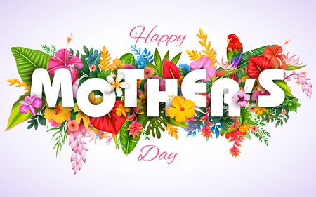 Illustration pour illustration of colorful Happy Mother's Day card with colorful flower - image libre de droit