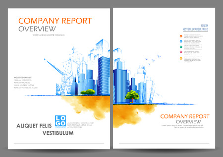 Illustration pour illustration of Annual report and presentation Leaflet Brochure and book cover layout template design - image libre de droit