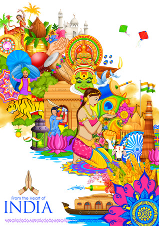 Illustration for illustration of India background showing its culture and diversity with monument, dance and festival - Royalty Free Image