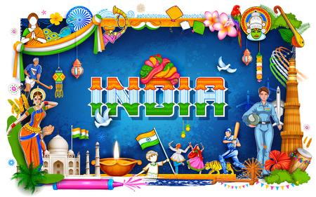 Illustration pour India background showing its incredible culture and diversity with monument, dance festival - image libre de droit