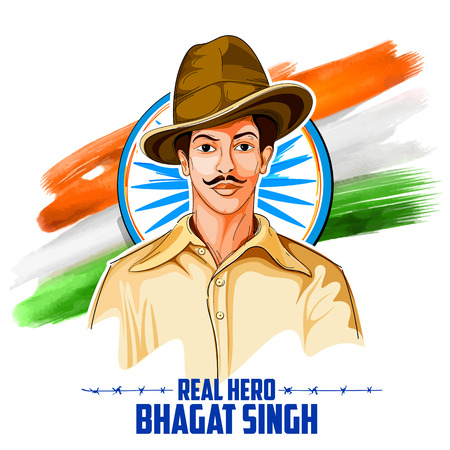 Illustration for illustration of Tricolor India background with Nation Hero and Freedom Fighter Bhagat Singh for Independence Day - Royalty Free Image