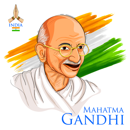 Illustration for Illustration of Tricolor India background with Nation Hero and Freedom Fighter Mahatma Gandhi for Independence Day or Gandhi Jayanti - Royalty Free Image