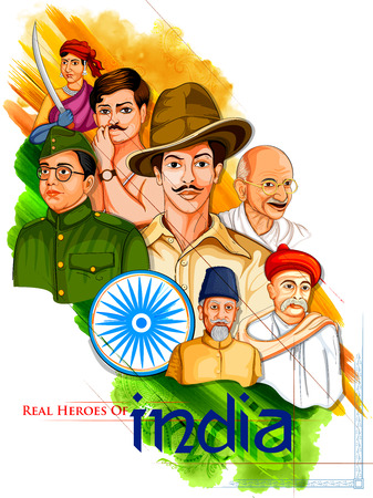 Illustration for Illustration of Tricolor India background with Nation Hero and Freedom Fighter like Mahatma Gandhi, Bhagat Singh, Subhash Chandra Bose for Independence Day - Royalty Free Image
