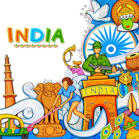 Illustration pour Indian background showing its incredible culture and diversity with monument, dance and festival celebration for 15th August Independence Day of India - image libre de droit