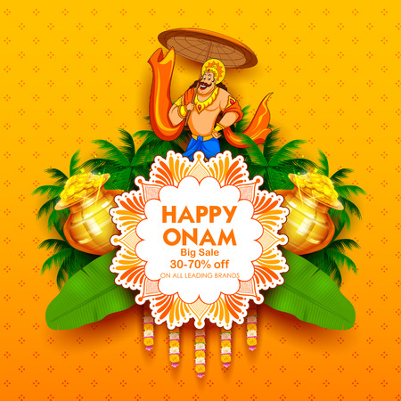 Illustration pour King Mahabali on advertisement and promotion for Happy Onam festival of South India Kerala - image libre de droit