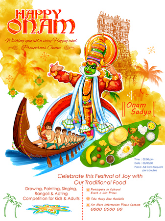 Illustration pour Kathakali dancer on for Happy Onam festival of South India Kerala - image libre de droit