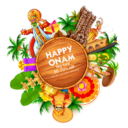 Illustration pour Advertisement and promotion for Happy Onam festival of South India Kerala - image libre de droit