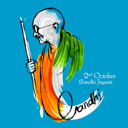 Illustration pour illustration of India background for 2nd October Gandhi Jayanti Birthday Celebration of Mahatma Gandhi - image libre de droit