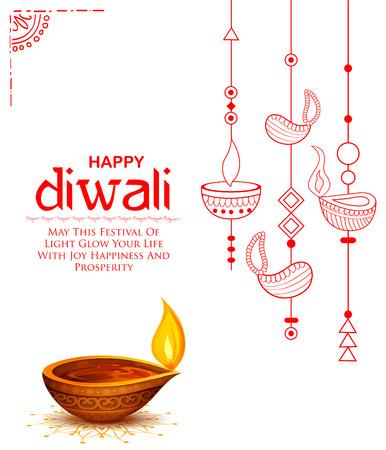 Ilustración de Burning diya on Happy Diwali Holiday background for light festival of India - Imagen libre de derechos