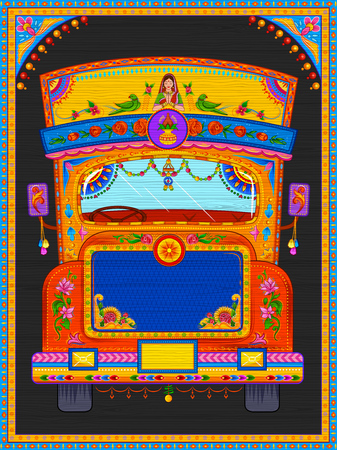 Illustrazione per Colorful welcome banner in truck art kitsch style of India - Immagini Royalty Free