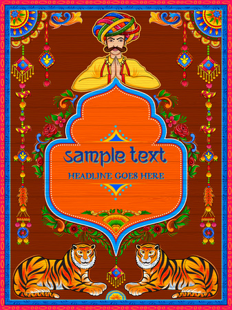Illustration pour Colorful welcome banner in truck art kitsch style of India - image libre de droit