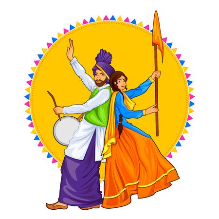 Illustration pour Sikh Punjabi Sardar couple playing dhol and dancing bhangra on holiday like Lohri or Vaisakhi - image libre de droit