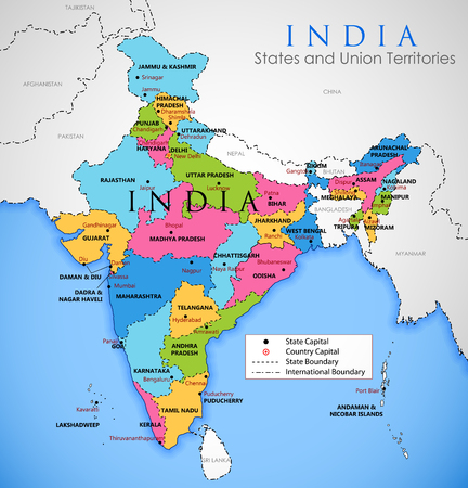 Illustration pour Detailed map of India, Asia with all states and country boundary - image libre de droit