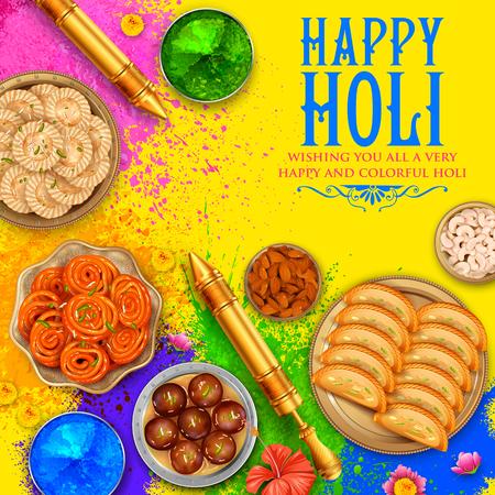 Ilustración de Powder color gulal for Happy Holi Background - Imagen libre de derechos