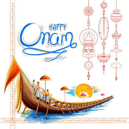 Ilustración de Snakeboat race in Onam celebration background for Happy Onam festival of South India Kerala - Imagen libre de derechos