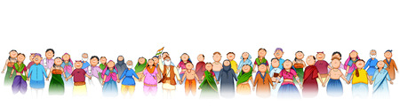 Illustration pour People of different religion showing Unity in Diversity on Happy Republic Day of India - image libre de droit