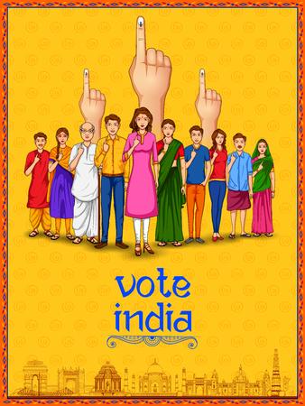 Illustration pour People of different religion showing voting finger for General Election of India - image libre de droit