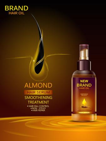 Ilustración de Advertisement promotion banner for almond oil hair serum for smoothening and strong hair - Imagen libre de derechos