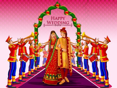 Illustration for Indian Bride and Groom in ethnic dress Lengha and Serwani for wedding Day with Marching Music Brass Band. Vector illustration - Royalty Free Image