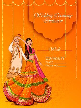 Ilustración de Indian Bride and Groom in ethnic dress Lengha and Serwani for wedding Day. Vector illustration - Imagen libre de derechos